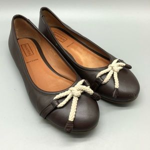 Hunter brown leather rope bow ballet flats